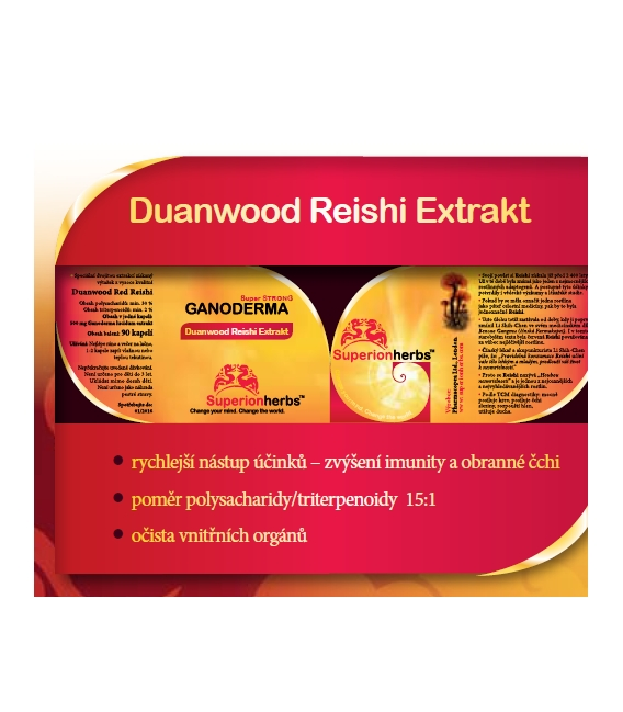 Ganoderma, Duanwood Red Reishi - 90 kps x 500 mg, extrakt 40 % polysacharidov