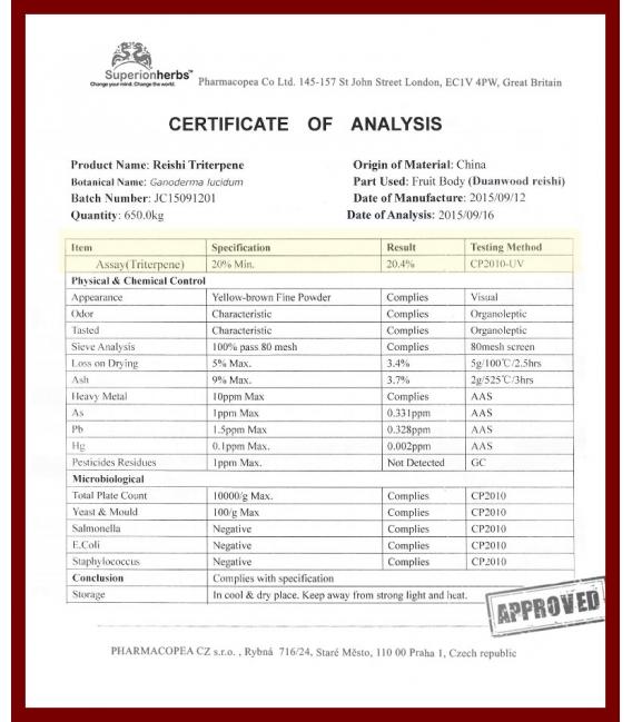 TRITERPEN MAX – extrakt z Duanwood Red Reishi – 20 % triterpenoidov, Superionherbs, 90 kps x 500 mg