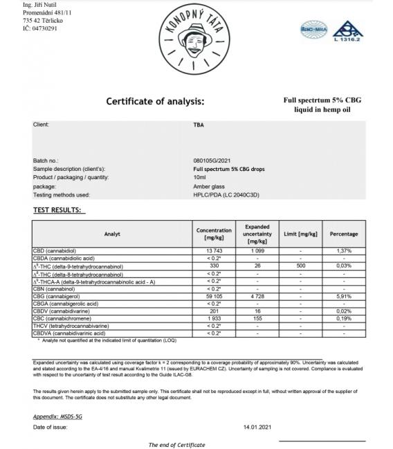 CBG olej 5 % Fullspektrum, Konopný táta, 10 ml
